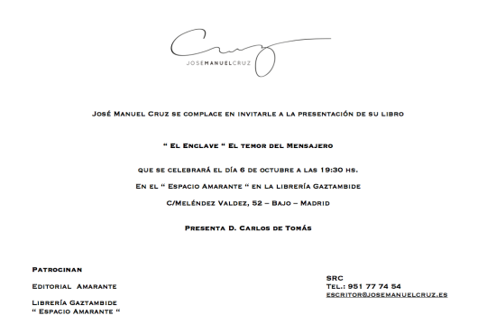 Presentación de EL ENCLAVE novela negra del escritor andaluz José Manuel Cruz